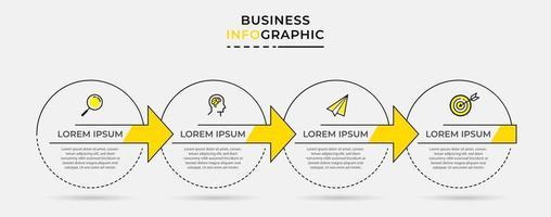 Vektor-Infografik-Design-Geschäftsvorlage mit Symbolen und 4 Optionen oder Schritten vektor