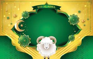 grüner und goldener Hintergrund mit Adha-Konzept vektor