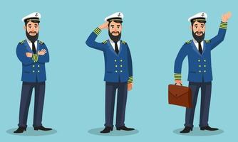 Kapitän des Schiffes in verschiedenen Posen vektor