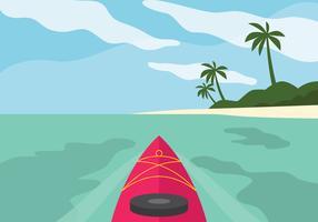Kajakpaddling runt stranden vektor