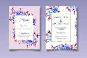 botanische Hochzeitsthema-Kartenschablone vektor