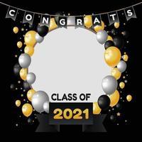 Grattis klass av 2021 bakgrund vektor