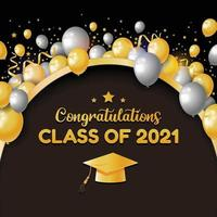 Grattis klass 2021 bakgrund vektor
