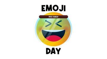 niedlicher Emoji-Tagesillustrationsvektor mit Gesichtsschutz vektor