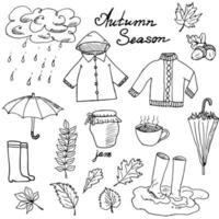 Herbstsaison Set Kritzeleien Elemente Hand gezeichnet Set mit Regenschirme Tasse heißen Tee Regen Gummistiefel Kleidung und Blätter Sammlung Zeichnung Kritzeleien Sammlung isoliert auf weißem Hintergrund vektor