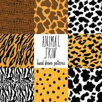 Tierhaut Hand gezeichnete Textur Vektor nahtlose Muster Set Skizze Zeichnung Gepard Kuh Krokodil Tiger Zebra und Giraffe Haut Texturen