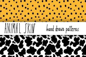 Tierhaut Hand gezeichnete Textur Vektor nahtlose Muster Set Skizze Zeichnung Leopard Punkte und Kuh Haut Texturen