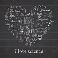 Chemie und Wissenschaftselemente kritzeln Ikonen setzen handgezeichnete Skizze mit Mikroskopformeln Experimente Ausrüstung Analyse-Werkzeuge Vektor-Illustration auf Tafel Hintergrund vektor