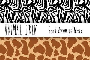 Tierhaut Hand gezeichnete Textur Vektor nahtlose Muster Set Skizze Zeichnung Zebra und Giraffe Haut Texturen