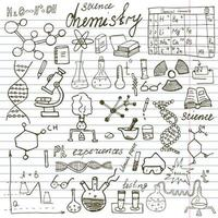 Chemie und Wissenschaft Elemente Kritzeleien Ikonen setzen handgezeichnete Skizze mit Mikroskopformeln Experimente Ausrüstung Analyse-Tools Vektor-Illustration auf Papier Notizbuch Hintergrund vektor