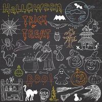 Skizze von Halloween-Gestaltungselementen mit Kürbishexenkatze-Geisterschädelfledermausspinnen mit Netzkritzeleien, die mit gezeichneter Vektorillustration der Beschriftungshand auf Tafelhintergrund gesetzt werden vektor