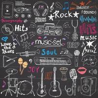 Musikgegenstände Gekritzelikonen setzen handgezeichnete Skizze mit Noteninstrumenten Mikrofongitarrenkopfhörertrommeln Musikspieler und Musikstile, die Zeichen Vektorillustration Tafel Hintergrund beschriften vektor
