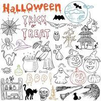 Skizze von Halloween-Gestaltungselementen mit Kürbishexenschwarzkatze-Geisterschädelfledermausspinnen mit Netzkritzeleien, die mit gezeichneter Vektorillustration der Beschriftungshand auf Tafelhintergrund gesetzt werden vektor