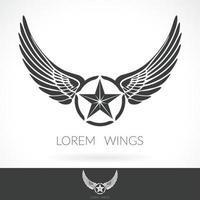 Flügel abstrakte Logo-Schablone mit Stern in der mittleren Abzeichenbeschriftungsemblemikone vektor
