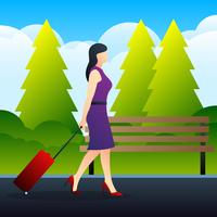 Junge elegante Frau mit Gepäck-Koffer-Illustration