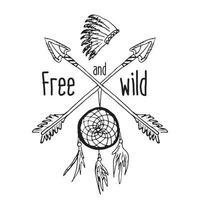 Traumfänger und gekreuzte Pfeile Stammeslegende im indischen Stil mit traditioneller Kopfbedeckung Traumfänger mit Vogelfedern und Perlen Vektor Vintage Illustration Buchstaben frei und wild isoliert