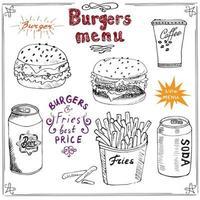 Hand gezeichnete Skizze Fast-Food-Poster des Burgermenüs mit Hamburger-Cheeseburger-Kartoffelsticks Getränkedose Kaffeetasse und Bierdose Vektorillustration mit Beschriftung vektor