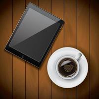 neue realistische Tablettenmodellvorlage mit Kaffeetasse auf Holzhintergrund vektor