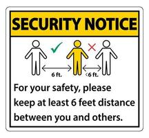 Sicherheitshinweis Halten Sie zu Ihrer Sicherheit einen Abstand von 6 Fuß ein. Bitte halten Sie einen Abstand von mindestens 6 Fuß zwischen Ihnen und anderen Personen ein vektor