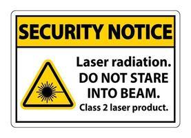 Sicherheitshinweis Laserstrahlung starren nicht in das Laserproduktschild der Strahlklasse 2 auf weißem Hintergrund vektor
