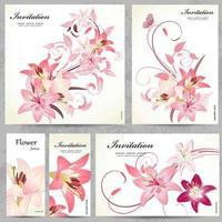 Satz Blumenkarten für Ihr Design vektor