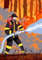 Feuerwehrmann, der Schlauch hält vektor