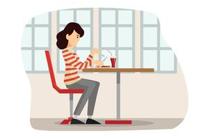Människor Äter På Restaurang Illustration Vektor