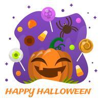 Flache Halloween-Süßigkeit mit Lächeln-Kürbis-Vektor-Illustration vektor