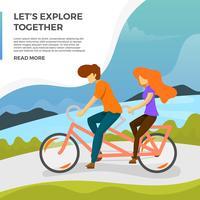 Flache Paarfahrt-Tandem-Fahrrad-Vektor-Illustration