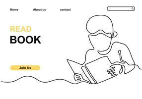 kontinuierliche Strichzeichnung eines Jungen, der ein Buch liest vektor