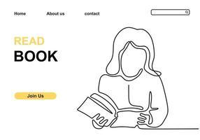 Mädchen liest ein Buch fortlaufend eine Linie Hand gezeichneten Minimalismus Stil vektor