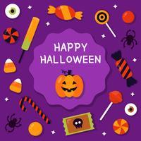 Glückliches Halloween mit Süßigkeits-Vektor