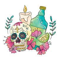Zuckerschädel mit Kerze und Tequila vektor