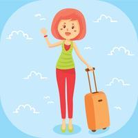 Vacker kvinna med resväska vektor