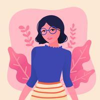 Mädchen mit gewelltem Haar und Brille