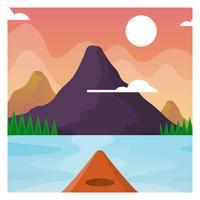 Flat Kayaking Första Personvy Med Landskap Bakgrund Vector Illustration