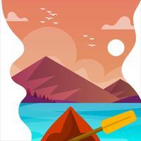 Flache Kayak fahrende erste Personen-Ansicht mit Landschaftshintergrund-Vektor-Illustration vektor