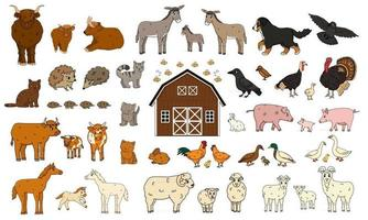 Satz von niedlichen Cartoon Gekritzel Bauernhoftiere Vektorsammlung von Esel Gans Kuh Stier Schwein Schwein Huhn Henne Hahn Ziege Schaf Ente Pferd Truthahn Katze Hund Igel Kaninchen Hase Vögel vektor