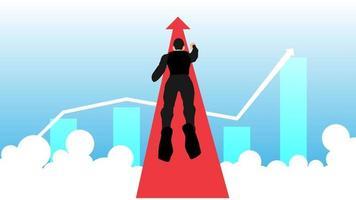 Illustration eines fliegenden Geschäftsmannes, der auf Erfolg zusteuert. gutes Gewinndiagramm. vektor