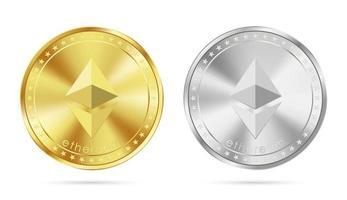 goldene und silberne Ethereum-Münze lokalisiert auf weißer Hintergrundvektorillustration vektor