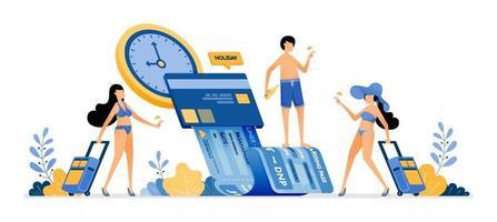 Menschen wählen Zeit und Datum, um Sommerferien-Tickets mit mobilen Apps zu kaufen. Die Zahlung von Urlaubsrechnungen per Kreditkartenabbildung kann für die Web-Poster-Broschüre der Zielseiten-Banner-Website verwendet werden vektor