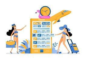 Mädchen machen sich bereit für den Urlaub, indem sie Sommerferien-Flugtickets zum tropischen Inselstrand mit mobilen Apps kaufen. Die Illustration kann für die Web-Poster-Broschüre der Landingpage-Banner-Website verwendet werden vektor