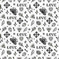 Alla hjärtans dag i sömlös modell för gammal skola. vektor illustration. design för alla hjärtans dag, styltor, omslagspapper, förpackning, textilier