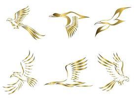 Satz von sechs Goldvektorbildern von verschiedenen fliegenden Vögeln wie Fasanen-Möwen-Stockenten-Kranichvogel und Ara, gute Verwendung für Symbolmaskottchen-Symbol-Avatar und -Logo vektor