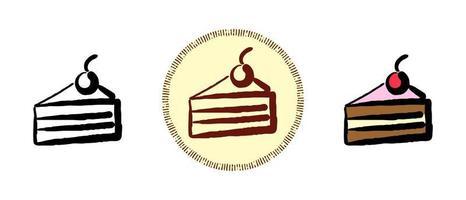 Kontur und Farbe sowie Retro-Symbole eines Stückes Kuchen mit Kirschen vektor