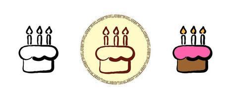 Kontur und Farbe und Retro-Symbole eines Kuchens mit Kerzen vektor