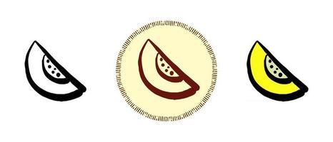 Melonenkontur und Farbe sowie Retro-Symbole vektor