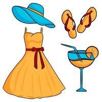 Satz Sommerelemente Hut Kleid Schiefer Flip Flops Cocktail Cartoon Stil Vektor-Illustration vektor