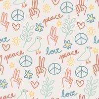 Niedliches Friedens- und Liebes-Muster vektor