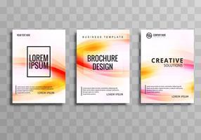 Abstrakt företagsbroschyr uppsättning färgstark våg design mall vektor